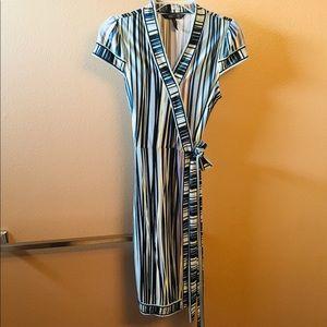 BCBG Blue Stripe Wrap Dress